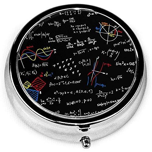 Lección de Matemáticas Caja de píldora de plata redonda portátil Bolsillo 3 Compartimento Caja de medicina para bolsillo o monedero