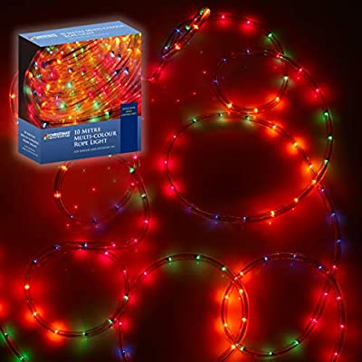 The Christmas Workshop 75640 10m Multi-Coloured Chaser Rope Lights | Indoor & Outdoor Christmas Lights | Christmas, Weddings & Gardens | Curtain Fairy Lights | Speed Control Unit