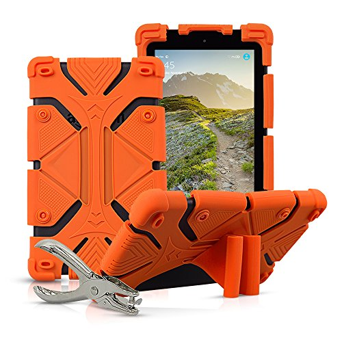 Universal 7 inch Tablet Case Shockproof Silicone Stand Cover for All Versions RCA Voyager 7' (2016, 2017) / Samsung Galaxy Tab 3/4/A/E Lite 7' / Google Nexus MatrixPad Z1 7' and More with DIY Puncher