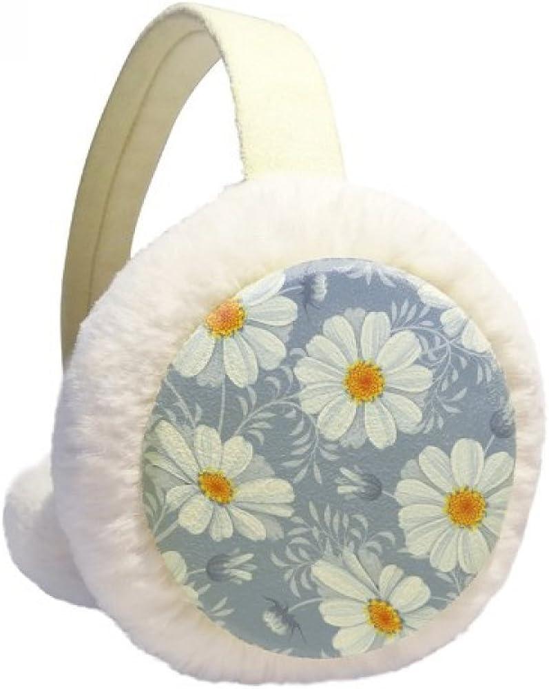 White Calliopsis Flower Plant Winter Ear Warmer Cable Knit Furry Fleece Earmuff Outdoor