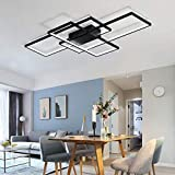 ZXM Modern LED Bedroom Rectangle Ceiling Lamp with Remote Control Dimmable Living Room Square Ceiling Lamp Acrylic Square Lampshade for Indoor Lighting Ceiling Light,Black,140CM