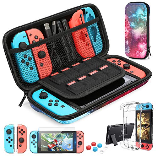 HEYSTOP Switch Carrying Case for Nintendo Switch Case with Screen Protector, 9 in 1 Nintendo Switch Accessories Kit and 6 Pcs Thumb Grip, Nintendo Switch Protective Case
