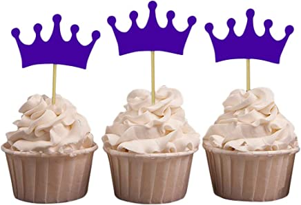 Darling Souvenir Crown Tiara Shape Cupcake Toppers, Girls Birthday Party Dessert Decorations - Pack of 40