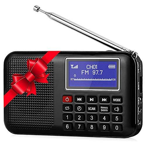 BIGMALL Pocket Radio Tragbarer MP3-Player Digital Tuning Mit Taschenlampe Sleep Timer Unterstützung TF-Karte USB-Laufwerk Batteriebetrieben