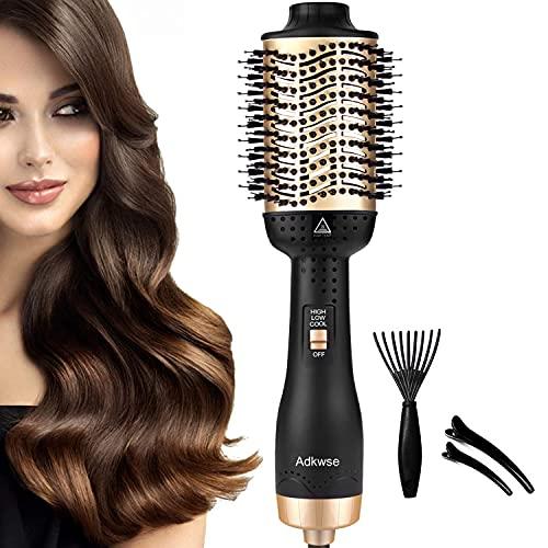 Adkwse Haartrockner Warmluftbürste 5 in 1 Hair Dryer Volumizer Styler Heißluftbürste Negativer Lonic Föhnbürste Volumenbürste Stylingbürsten Bürste Heißluftkamm Für Alle Styling