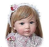 ZXYMUU Baby Reborn 60 cm 24'Bebés Reborn Reborn Realista Hecho a Mano Girls Princess Soft Touch Realista Baby Doll Rubia Larga para Juguetes de Regalo del bebé, muñecas nutritivas