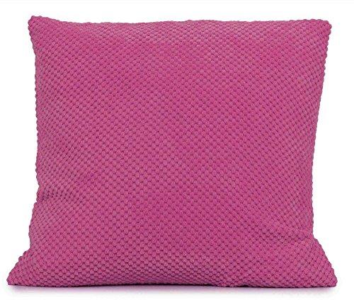 HBS Ltd New Faux Fur Elin Hot Pink/Fushia Chenille Circles Modern Cushion Cover 43x43cms