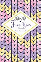 2020-2024 Five Year Planner And Calendar: 5 Year Pocket Monthly Schedule Organizer, 60 Month Calendar with Holidays, Knit Purple