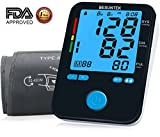 Blood Pressure Monitor Upper Arm with Large Blood Pressure Cuff 8.7-16.5 Inches and Backlit LCD Display (Black)