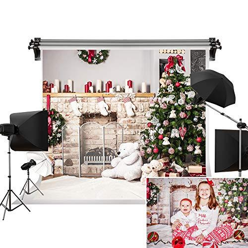7x5ft Árbol de Navidad telón de fondo Fotografía Color Blanco ladrillo Chimenea para recién nacido Navidad Fondo de estudio fotográfico