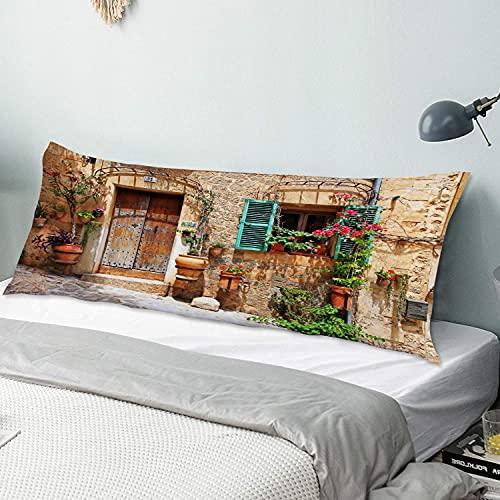 Funda de Almohada para el Cuerpo,Calles de Las Antiguas Ciudades mediterráneas,Funda de Almohada Larga y Transpirable con Cremallera para sofá de Dormitorio,sofá de 20'x54'