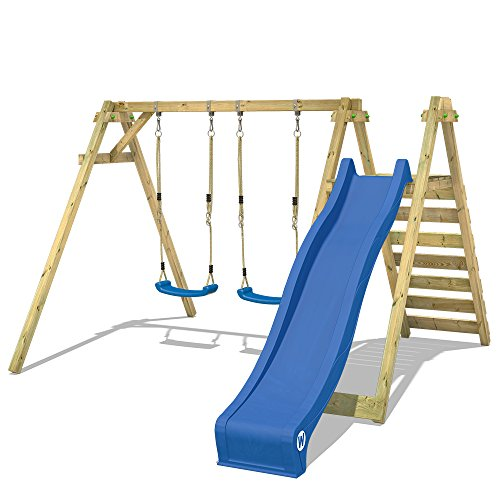 WICKEY Balançoire Smart Swift balançoire en bois pour enfants avec toboggan, 2 sièges de balançoire et podium 150cm