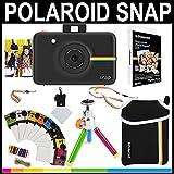 Polaroid - Cámara instantánea Snap (Negro) + Papel Zink 2x3 (paqute de 20) + Funda de Neopreno + Marcos para Fotos + Set de Accesorios