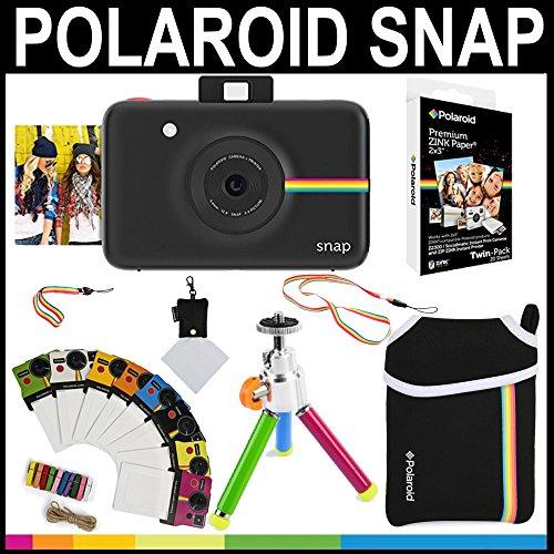 Polaroid - Cámara instantánea Polaroid Snap (Negro) + Papel Zink 2x3 (paqute de 20) + Funda de Neopreno + Marcos para fotos + Set de accesorios