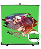 FUDESY Collapsible Chromakey Panel Green Screen Backdrop for Photography Photo Video, Live Game, Tiktok, Aluminum Base, Wrinkle Resistant Fabric, Pull-up Style, Auto-Locking Frame, 77x74in