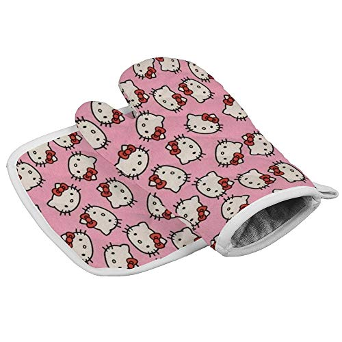 HACVREQ Pink Hello Kitty Heads Oven Mitts Heat Protector Gloves BBQ Insulation Hot Pan Mat Kitchen Cooking Tool Men Women