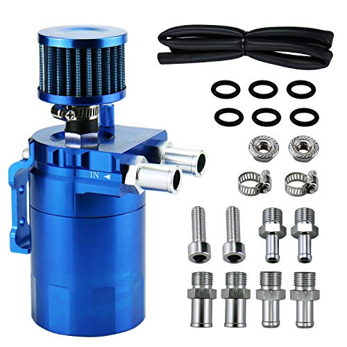 350ml Oil Catch Can Tank with Breather Aluminum Polish Baffled Oil Separator Filter (Blue)