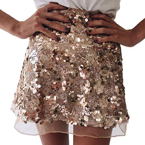Minetom Damen Minirock Pailletten Party A-Linie Clubwear Abend Sexy Mit Transparentem Chiffon Röcke Hoher Taille Skirts Gold Large