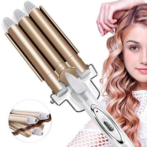 Lockenstab, Aibeau 3 Dreifache Fässer Lockenstab Haarwickelzange Hair Waver Pearl Waving Lockenwickler, Wellenstyler Turmalin Keramik Digitale Temperaturanzeige
