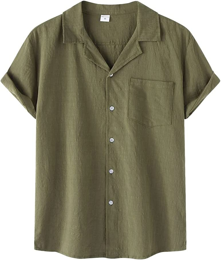 PDGJG Men's Casual Shirt Rare Cotton Linen Short Dealing full price reduction Solid B Sleeve Color