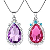 2 collares de princesa Sofía el primer amuleto y Elena para hermana gemela, collar de lágrima, joyería mágica regalo para niñas