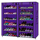 OTU Fashionable Room-Saving 6 Row 2 Line/Dual Rows 12 Lattices Non-Woven Fabric Shoe Rack Purple Organizers Storage