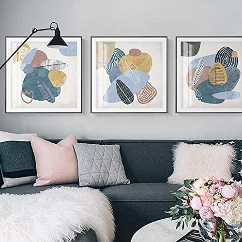 DUYAO00 Colorido Arte Abstracto Pintura de Pared Lienzo Pinturas de Pared psicodélicas decoración Interior Minimalista para Carteles caseros 30x30cmx3 sin Marco