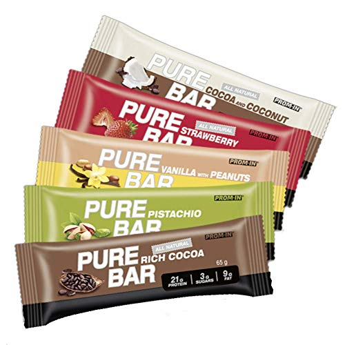 All Natural high Percentage Protein Low carb Essential Pure bar by PROM-IN (65g) (Vanilla with Peanuts)