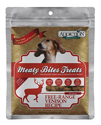 Addiction Grain Free Meaty Bites Venison Pet Dogs Snack Soft Treats Food 4z