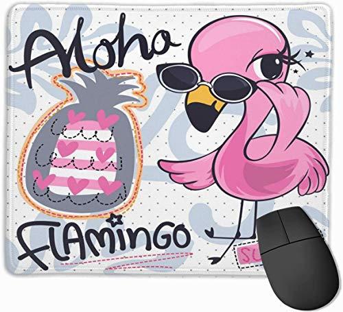 Cute Flamingos Gaming Mouse Pad personalizado antideslizante de goma natural Mousepad Beach Mouse Pad con gafas de sol regalo