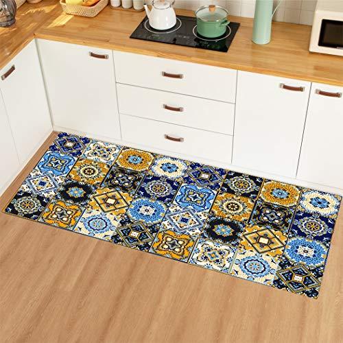 HLXX Kitchen Mat Carpet Vintage Door Entrance Floor Mat Kitchen Rug For Living Room Anti-Slip Kitchen Rug Hallway Carpet A2 50x80cm