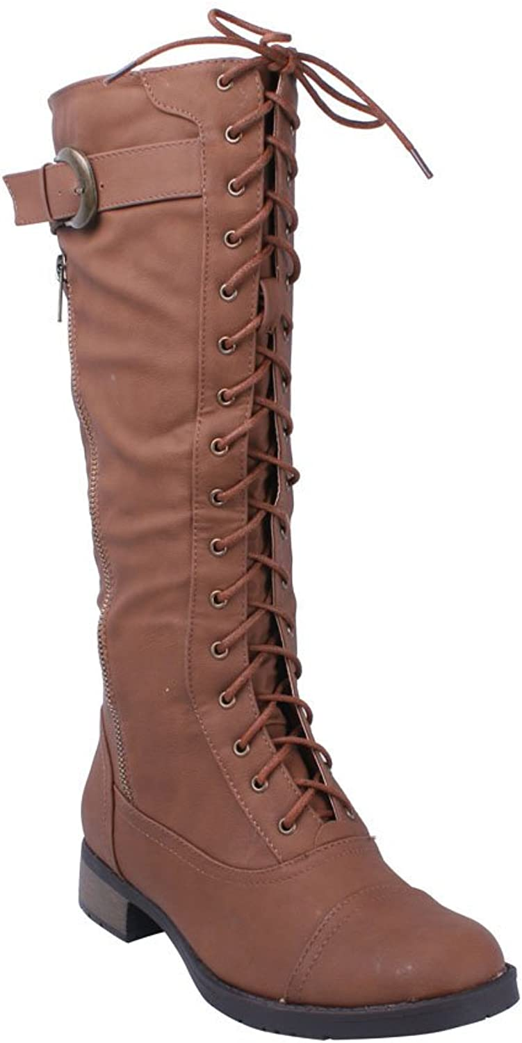 Refresh Cici Women's Lace Up Tall Combat Boots With Distressed Pu Upper And S...