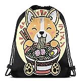 jiadourun Mochila con Cordón Ra-Men Cute Anime Dog Corgi Japanese Noodles Mochila De Viaje Unisex...