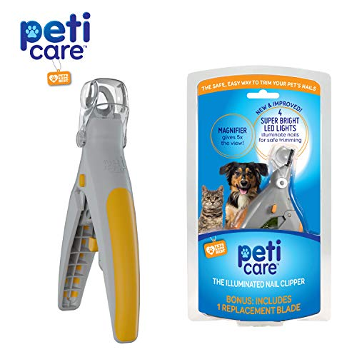 Allstar Innovations PetiCare LED Light Pet Nail Clipper- Great for Trimming Cats & Dogs Nails & Claws, 5X Magnification That Doubles as a Nail Trapper, Quick-Clip, Steel Blades