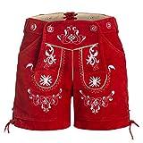 Damen Trachten Lederhose mit Trägern Rot 38