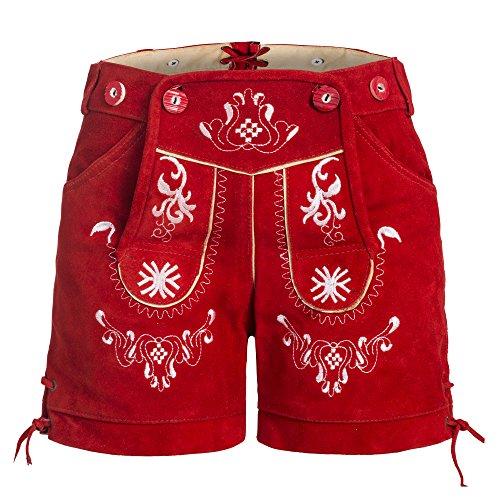 Damen Trachten Lederhose mit Trägern Rot 40