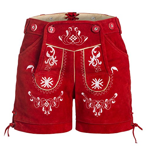 Dames klederdracht lederen broek met dragers rood maat 32-46