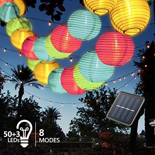 Solar Lichterkette Außen Lampions, FOCHEA Lichterkette Außen 9,3 m 50 LED 8 Modi IP65 Wasserdicht Solar Lichterketten mit Fernbedienung und 3 Ersatzlaternen für Aussen,Garten, Party (Mehrfarbig)