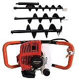Excavadora de pozos con orificio de orificio perforadora de pozos 52CC Motor de gas y broca de 4 '/ 6' / 8 '
