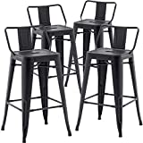 TONGLI Metal Bar Stools Set of 4 Counter Height Stools 26 Inchs Counter Stools Black Bar stools with Backs Bar Height Stools Indoor Outdoor Matte Black, Low Back