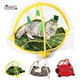 Cat Tent with Hanging Toys - Balls Mice & More Helps Cats Get Exercise and Stay Active, Best Cat Bed Tent Kitten Mat Pet Supplies (Tortoise)