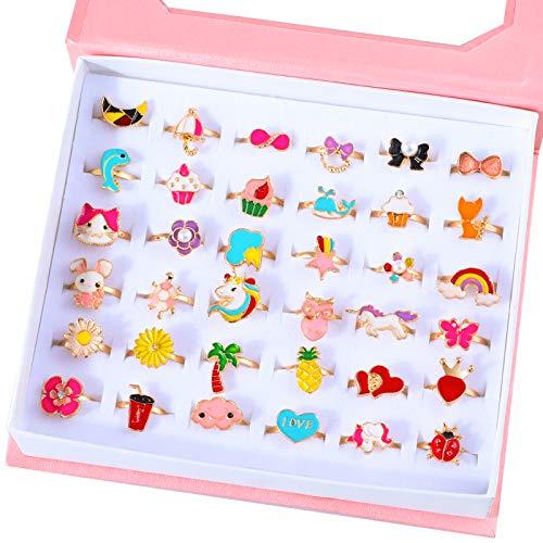 Hifot Anillos Ajustables para niñas 36 Piezas, Princesa Ladybug Mariposa Flor...