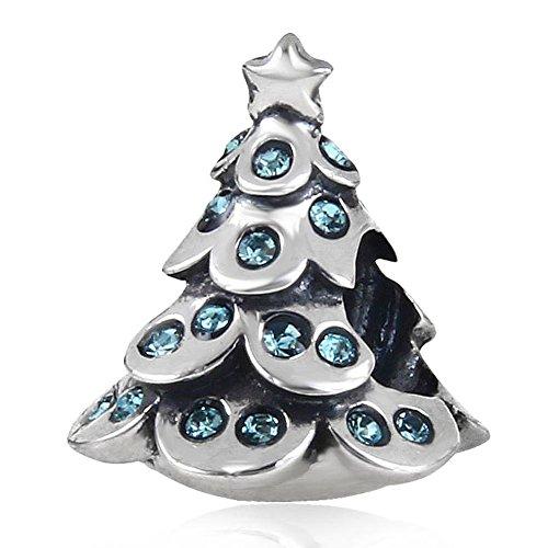 Feestelijke kerstboom bedeltje met geboortesteen kristal 925 sterling zilver ster kraal past Europese armband March Birthstone
