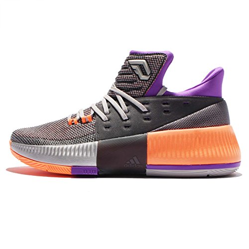 adidas D Lillard 3 Herren Basketball Sneakers (UK 7.5 US 8 EU 41 1/3, Silver metallic orange BB8270)