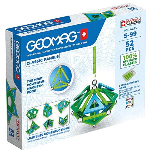 Geomag Panels, Juego de Bloques de Construcción Magnéticos para Niños, Juguete Magnético, Colección Verde de Plástico 100% Reciclado, 52 piezas (471)
