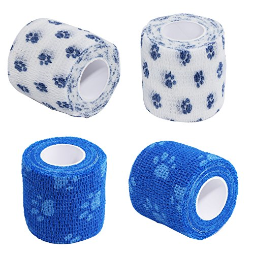 4Pcs Pet Bandage Cohesive Bandage Self Adhering Stick...