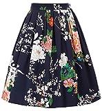GRACE KARIN Jupe Femme Mi-Longue Taille Haute Trapèze Evasé Stretch Imprime Vintage M CL6294-31