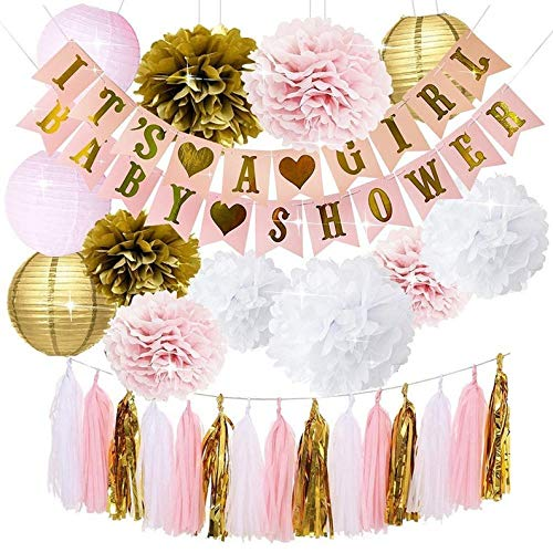 Pink and Gold Baby Shower Decorations for Girl - Its A Girl Banner & Baby (WGW) Shower Banner  Gender Revea Party Kit Decor   Pink Gold Poms