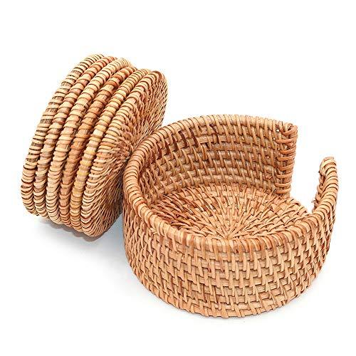 POFET Sottobicchieri in rattan intrecciato a mano con piastra di base per tazze da tè, piatti isolati, per cucina, accessori per la casa da tè, set da 6 pezzi, con supporto (marrone, 10 cm rotondo)