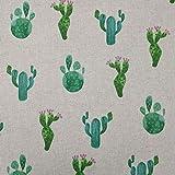 Panini Tessuti, Tela mixta algodón Cactus acuarela – Se vende por medio metro, ancho fijo 140 cm; 1 qda = 50 cm; 2 unidades = 100 cm – decoración, sillas, sofás, bricolaje